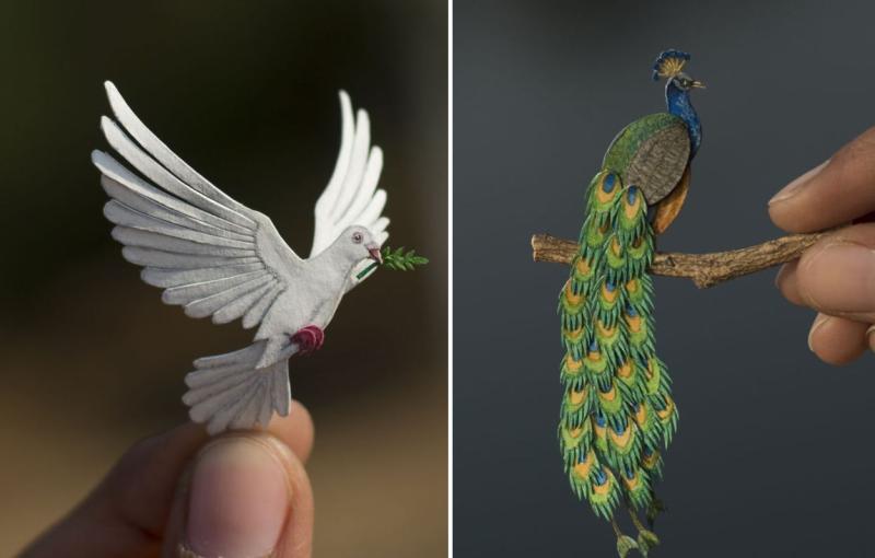 Paper Art by NVIllustration: Miniature Cut Paper Bird Illustrations