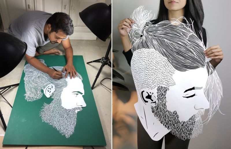 Paper Art: Indian artist hand-cuts different hairstyles on sheets of paper