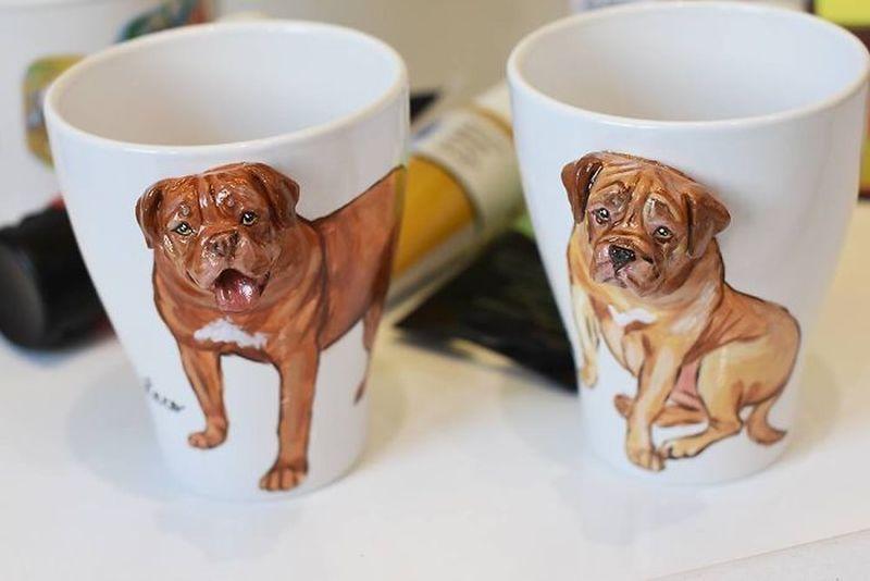 Camelia Rolea Creates Handmade 3D Sculptures of Pets on Mugs