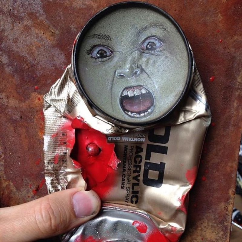 Life-Like Paintings on Found Objects by My Dog Sighs